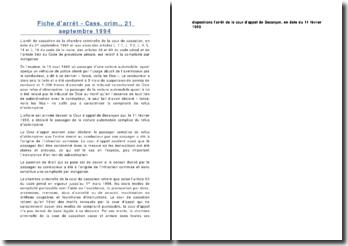 Fiche d'arrêt - Cass. crim., 21 septembre 1994