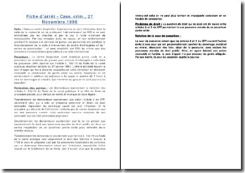 Fiche d'arrêt - Cass. crim., 27 Novembre 1996