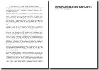 Fiche d'arrêt - Cass. crim. 26 avril 2000