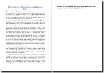 Fiche d'arrêt - Cass. crim., 6 septembre 2005