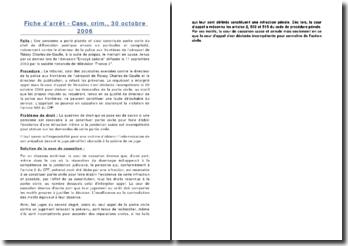 Fiche d'arrêt - Cass. crim., 30 octobre 2006