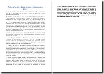 Fiche d'arrêt - Cass. crim., 12 décembre 2000