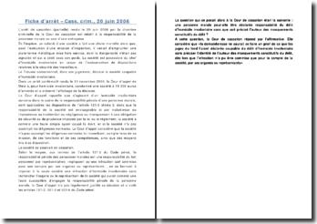 Fiche d'arrêt - Cass. crim., 20 juin 2006