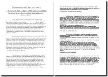 dissertation sur le thème de l'impossible