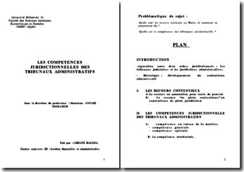 LES COMPETENCES JURIDIQUES DES TRIBUNAUX ADMINISTRATIFS