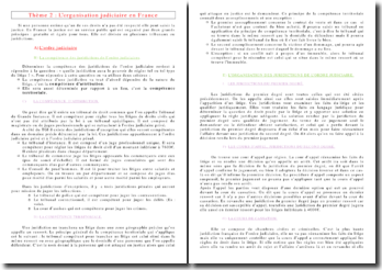 L'organisation judiciaire en France