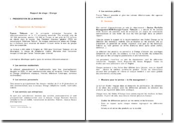 Rapport de stage: Orange
