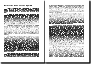 Cour de Cassation, Chambre commerciale, 18 juin 2002: Casino Dunkerque contre la société Forges Thermal