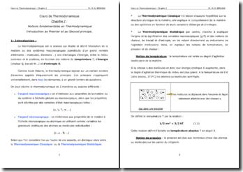 Notions fondamentales en Thermodynamique