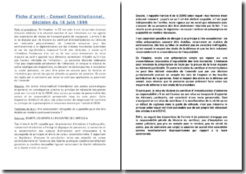 Conseil Constitutionnel, décision du 16 juin 1999