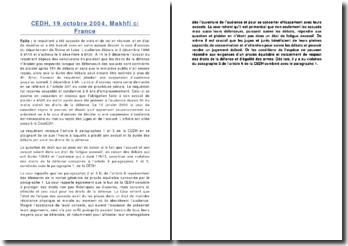 CEDH, 19 octobre 2004, Makhfi c/ France