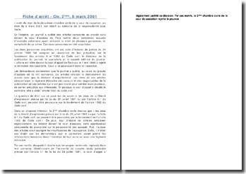 Fiche d'arrêt - Civ. 2ème, 8 mars 2001