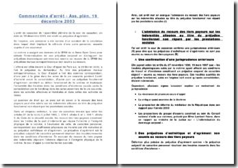 Commentaire d'arrêt - Ass. plén. 19 décembre 2003