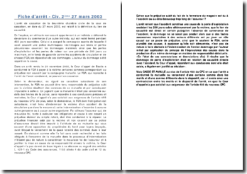Fiche d'arrêt - Civ. 2ème 27 mars 2003