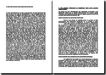 La libre administration des collectivités territoriales - protection de l'autonomie, jurisprudence et contrôle