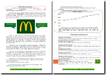 Marketing des services: McDonald/Quick (profil, stratégie, positionnement concurrentiel)