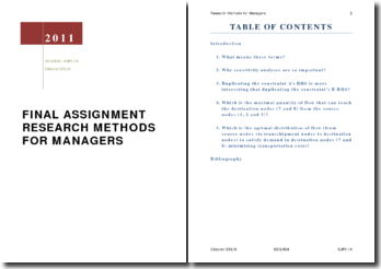 FINAL ASSIGNMENT RESEARCH METHODS FOR MANAGERS