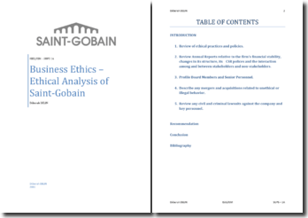 Business Ethics - Ethical Analysis of Saint-Gobain