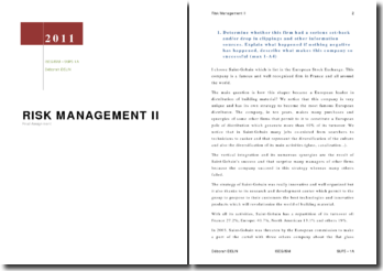 RISK MANAGEMENT II