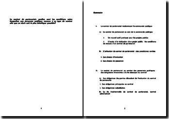 Le contrat de partenariat: quelles sont les conditions selon lesquelles une personne publique recoure à ce type de contrat afin que ce choix soit le plus bénéfique possible?