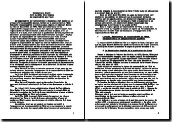 commentaire d'arret - Arrêt du 23 mai 2003 - La responsabilité pour faute de l'État
