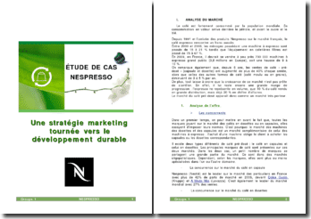 Une stratégie marketing tournée vers le développement durable: étude de cas Nespresso