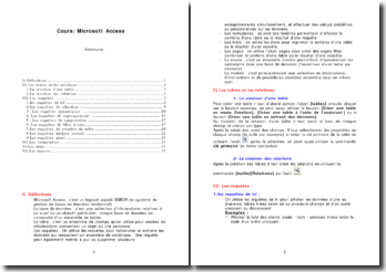 Cours: Microsoft Access