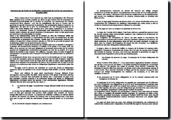 Commentaire de l'arrêt de la Chambre commerciale de la Cour de cassation du 10 juillet 2007