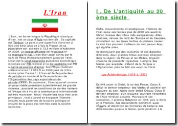 Exposé complet sur l'Iran , très bon niveau fin 3ème - 2nd .