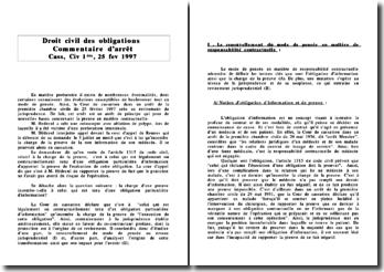 Commetaire Cass, Civ 1ère, 25 février 1997
