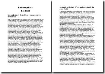 philo : fiche de revision sur le droit