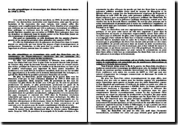 Le rôle géopolitique et économique des Etats-Unis dans le monde de 1945 à 1974