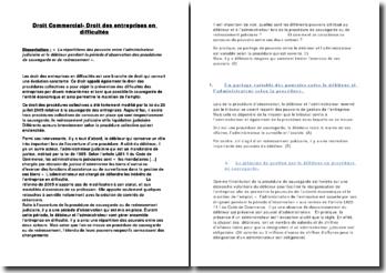 Dissertation : La répartition des pouvoirs entre l'administrateur judiciaire et le débiteur pendant la période d'observation des procédures de sauvegarde et de redressement ».