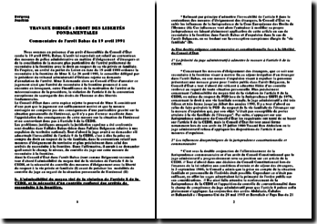 Commentaire de l'arrêt Babas 19 avril 1991