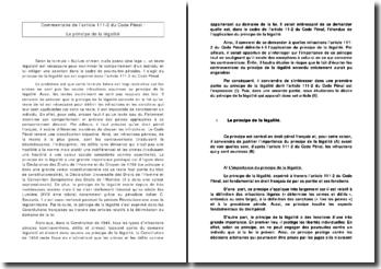 Commentaire de l'article 111-2 du Code Pénal : Le principe de la légalité