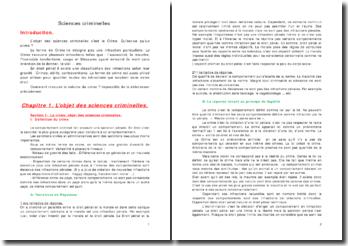 Cours licence 1 droit sciences criminelles
