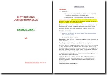cours licence 1 droit institutions juridictionnelles