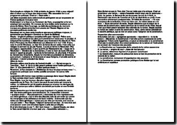 commentaire de texte sur la brochure de Sieyès