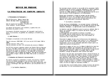 Revue de presse sur la stratégie du groupe Armani et le secteur du luxe