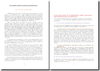 Les avant-contrats (pacte de préférence) Civ., ch. mixte 26 mai 2006