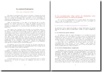 Le contrat d'entreprise Civ., 1ère, 19 février 1968