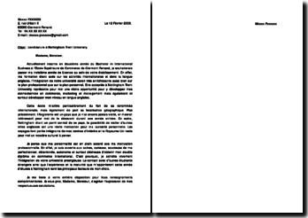 lettre de motivation/candidature à Nottingham Trent University