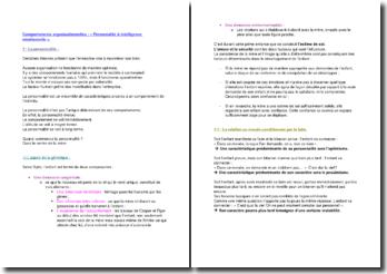 Comportements organisationnelles : « Personnalité & intelligence émotionnelle ».
