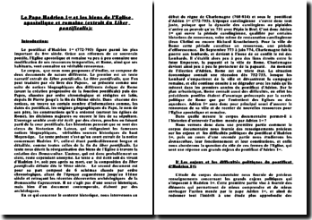 Le Pape Hadrien 1er et les biens de l'Eglise apostolique et romaine (extrait du Liber pontificalis)