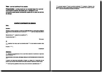 Exemple type d'un contrat confirmant la cession des droits