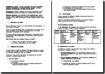 « Causes de l'achat d'un nouveau produit : variables individuelles ou caractéristiques perçues », Revue Française de Marketing, ROEHRICH G. (2001)