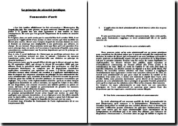 Commentaire d'arrêt: Le principe de sécurité juridique