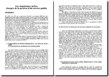 Les organismes privés chargés de la gestion d'un service public