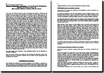 Le testament d'Auguste. Suétone, Les douze Césars, CI. Dion Cassius, Histoire romaine, LVI, 30 ; 32-34.