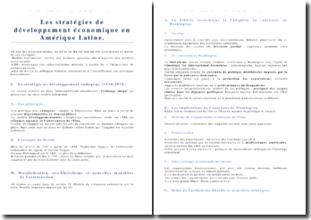 Cours géopolitique Les stratégies de développement Amérique Latine